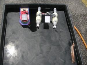 The demonstration of 2 solar boat models